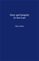 Duty and Integrity in Tort Law book jacket
