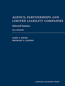 Agency, Partnerships and Limited Liability Companies Selected Statutes book jacket