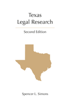 Texas Legal Research book jacket